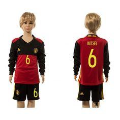 Belgien Trøje Børn 2016 #Witsel 6 Hjemmebanetrøje Lange ærmer.222,01KR.shirtshopservice@gmail.com