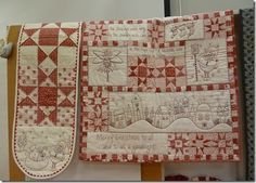 Christmas quilt with redwork