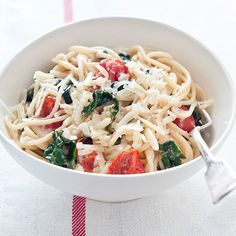 Tossing the cooked spaghetti with some of the reserved pasta cooking water and fresh goat cheese produces a light, tangy and luxurious sauce. Melissa ...