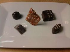 Candy Cane Brittle, Candied Orange Chocolate Fudge, Smoked White Chocolate Truffle, Peppermint Truffles.