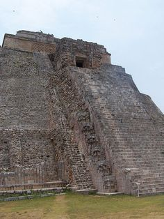 Rear Staircase, Pyramid of the Magician. Mayan site of Uxmal, Mexico.  700 and 1000 AD.