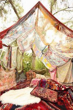 tablecloth fort. Fun!