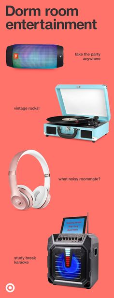 Give your college student easy ways to entertain with a record player, speakers, headphones & more.