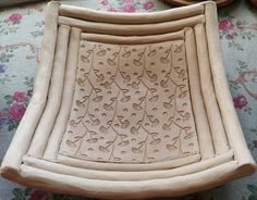 Slab and coil pot by Row - Pattern is from a large rubber stamp map
