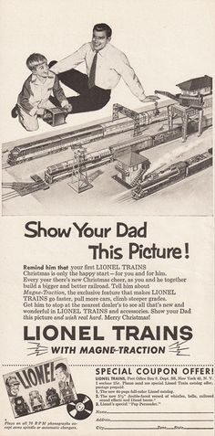 1954 LIONEL TRAINS Christmas Advertisement Retro Father & Son Ad by phorgotten