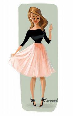Beautiful and elegant Girl / Ragazza bella ed elegante - Art by Steph Lew