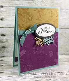 Stampin Up Paisleys & Posies stamp set and coordinating Paisleys Framelits Just a note card  www.stampstodiefor.com