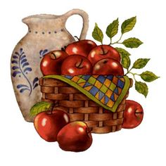 Jar with a basket of apples