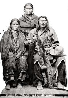 Miniconjou Lakota Chief Hump and wives. 1879. Photo by L.A. Huffman. Source - Montana Historical Society.