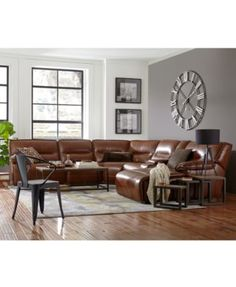 Beckett Leather Sectional Sofa with Chaise with 2 Power Recliners - Sectional Sofas - Furniture - Macy's Sectional Sofa With Recliner, Leather Sectional Sofas, Leather Recliner, Leather Reclining Sofa, Brown Couch Living Room, Living Room Sectional, Farmhouse Living Room Furniture, Living Room Decor, Brown Furniture
