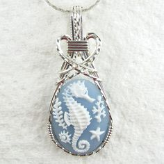 Seahorse Cameo Pendant Sterling Silver Jewelry Artisan Wire Art   eBay