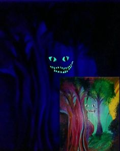Cheshire cat Glow in the dark art Alice in by MeandMias on Etsy