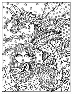 fairy and dragon instant download adult coloring fantasy art coloring page - Super Cute Animal Coloring Pages
