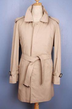 Mens BURBERRY Bespoke Short TRENCH Coat Mac Beige 44/46 L/XL