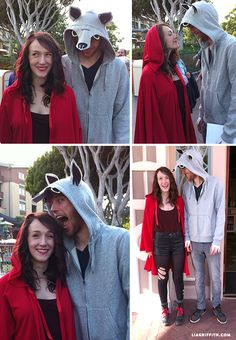 Here is one of my favorite homemade Halloween costumes, the wolf hoodie is a simple no-sew project. I used black, grey, yellow and white felt and hot glue. Little Red Riding Hood Halloween Costume, Wolf Halloween Costume, Wolf Costume, Red Riding Hood Costume, Couple Halloween Costumes For Adults, Homemade Halloween Costumes, Costumes For Teens, Couple Costumes, Adult Costumes