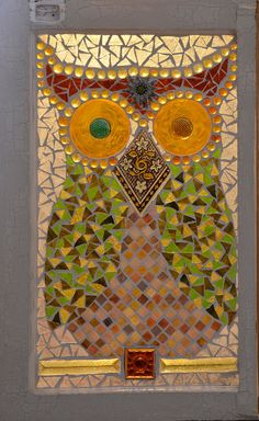 Mosaic Owl 1970s style on vintage window. Don by MarvelousMosaic, sold