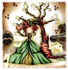 Kit and Clowder: Tiddlyinks + Funky Hand Blog Hop    Skin: E000, E00, E21, E11, R11  Hair: E11, E13, E15, E18  Dress: Dark Green G21, G94, G99 Olive Y28, BG96, E33  Tree: E11, E13, E15, E18