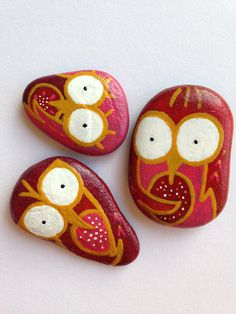 Handpainted decorative river stones three owls set red and gold