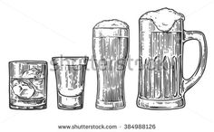 Set glass for beer, whiskey, tequila. Vector vintage engraved illustration isolated on white background.