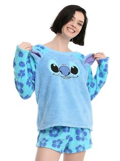 Disney Lilo & Stitch Stitch Plush Girls Short Sleep Set, BLUE