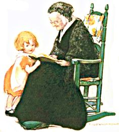 My Puzzles - Children - Vintage - Grandma Reading to Child 1923