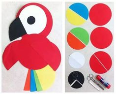 small circle paper to make cute bird for kids