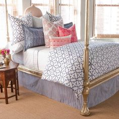 The gold bed is stunning! Love the John Robshaw bedding. Dream Bedroom, Home Bedroom, Girls Bedroom, Master Bedroom, Bedroom Decor, Bedroom Ideas, Master Master, Bedroom Retreat, Nursery Ideas