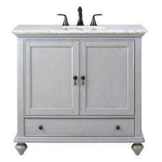 Home Decorators Collection Newport 37 In. D Single Vanity In Pewter With  Granite Vanity Top In Grey With White Basin 9390100290 At The Home Depot    Mobile