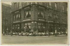 A Belvárosi Kávéház a Klotild palotában, az akkori Apponyi téren.1936 (FSzEK) Ma Ferenciek tere