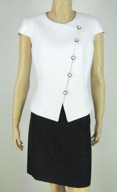 Tahari ASL Black White Jacket Blazer Skirt Suit Cap Sleeves Size 8P New 9215 #Tahari #SkirtSuit