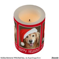 Golden Retriever With Red Santa Hat Christmas Flameless Candle