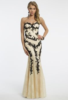 Camille La Vie Two Tone Lace Prom Dress with Appliques