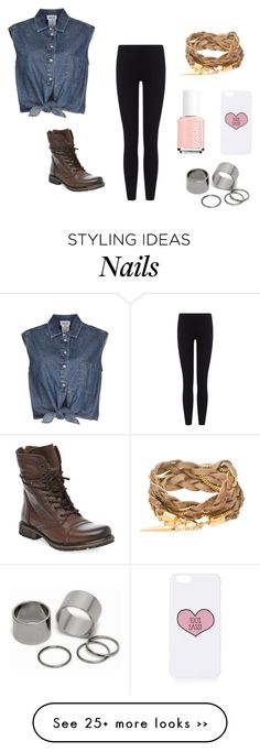 """""""Not Caring"""" by kittykitkat132 on Polyvore featuring moda, Jean-Paul Gaultier, James Perse, Steve Madden, Essie, Topshop e Pieces"""