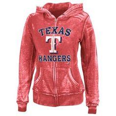 Majestic Texas Rangers Ladies Push the Limits Full Zip Fleece Hoodie - Red