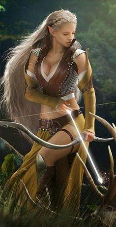 23 Ideas for fantasy art elf warrior swords Fantasy Warrior, Fantasy Girl, Warrior Girl, Fantasy Women, Elf Warrior, Elfa, Fantasy Artwork, Character Portraits, Character Art