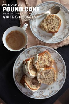 Banana Pound Cake Slice recipe http://aapplemint.com/2013/02/11/banana-pound-cake-white-chocolate/