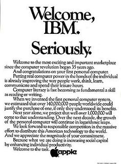 August 1981 full-page newspaper ad run by Apple in the Wall Street Journal welcoming IBM to the personal computer marketplace. #advertising
