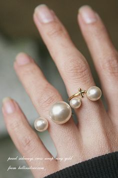 Gold Double Pearl Ring Cuff Gold Pearl Jewelry por kellinsilver