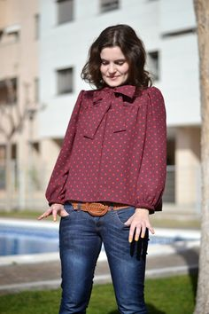 burgundy bow blouse with polka dots