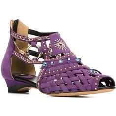 Designer Clothes, Shoes & Bags for Women Purple Sandals, Purple Shoes, Flat Sandals, Flat Shoes, Shoes Sandals, Peep Toe Flats, Embellished Sandals, Vintage Shoes, Heels