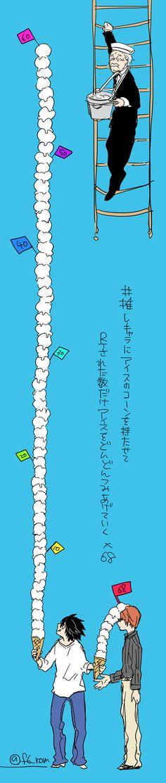 #推しキャラにアイスのコーンを持たせてRTされた数だけアイスをどんどん積み上げていく by nageru