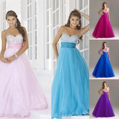 Strapless Long Prom Dress Formal Evening Sweet Sixteen Party Dresses Ball Gowns | eBay£36 + £7