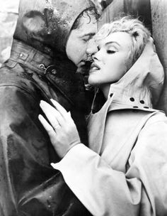 "Marilyn Monroe & Richard Allen on the set of ""Niagara"", 1952."