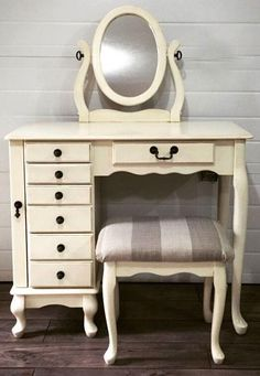 Kristin of Dressers and Jujubes refinished this vanity in Antique White Milk Paint. She also used Van Dyke Brown Glaze Effects and High Performance Top Coat Satin.