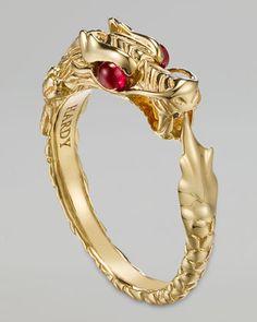 John Hardy Batu Naga (dragon) 18k Gold Slim Ring,  Neiman Marcus