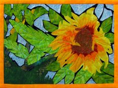 Stained Glass Sunflower Quilted Fiber Art Wall by cindyrquilts, $250.00