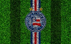 Download wallpapers Bahia FC, Esporte Clube Bahia, 4k, football lawn, logo, Brazilian football club, emblem, blue white lines, Serie A, Salvador, Brazil, Campeonato Brasileiro, Brazilian Championship A Series