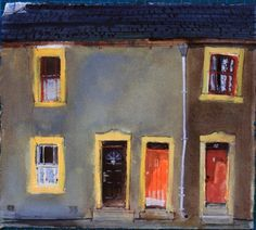Peter Quinn - Three Windows, Three Doors, Cockermouth is available for sale at Castlegate House Gallery. Gouache, Building Sketch, Glasgow School Of Art, Watercolor Paintings, Watercolours, Cumbria, Teaching Art, Paintings For Sale, Illustration Art