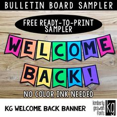 Bulletin Board Letters Sampler: WELCOME BACK banner ~ Easy Cut **This is a print and go sampler of the full alphabet set sold here. This sampler has everything you need to print the single phrase College Bulletin Boards, Kindergarten Bulletin Boards, Summer Bulletin Boards, Welcome To Kindergarten, Birthday Bulletin Boards, Welcome To School, Bulletin Board Letters, Classroom Bulletin Boards, Preschool Welcome Door