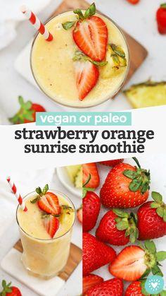 Strawberry Orange Sunrise Smoothie - This creamy strawberry mango pineapple smoothie has bright, fresh flavor that feels like taking your tastebuds on vacation! (Paleo or Vegan) // Strawberry Mango Smoothie // Strawberry Pineapple Smoothie // Strawberry Orange Smoothie // Healthy smoothie // healthy snack #paleo #vegan #smoothie Fruit Smoothie Recipes, Vegan Smoothies, Juice Smoothie, Protein Recipes, Strawberry Pineapple Smoothie, Easy Strawberry Desserts, Plant Based Whole Foods, Yummy Drinks, Yummy Food